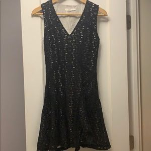 Black cotton dress with white lining contrast
